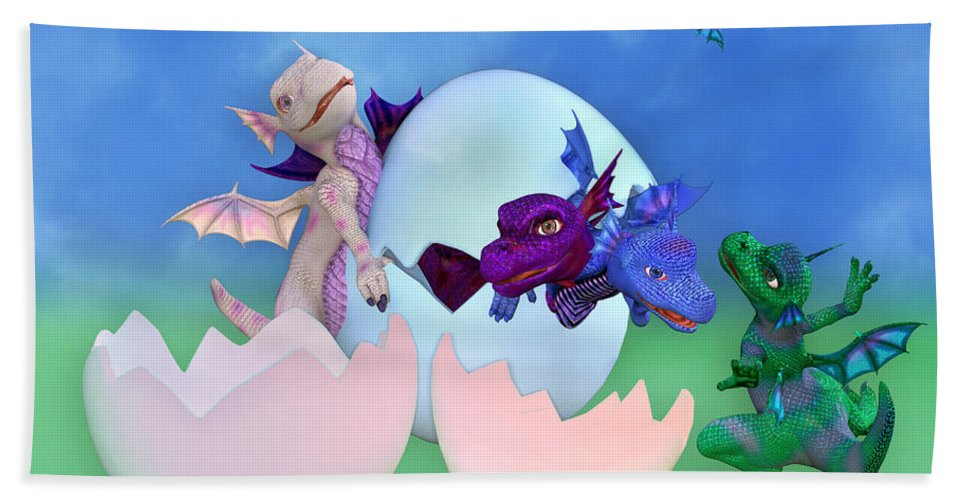 Dragon Bath Towel featuring the digital art Come Out And Play by Betsy Knapp