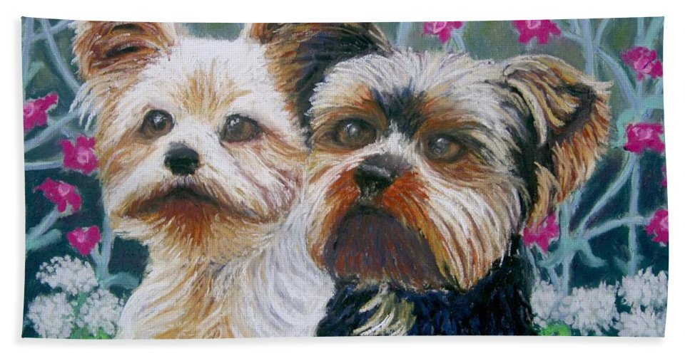 Terrier Bath Sheet featuring the painting Come Play With Me Close-up by Minaz Jantz
