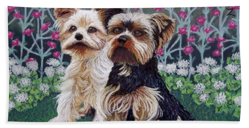 Dogs Hand Towel featuring the painting Come Play With Me by Minaz Jantz