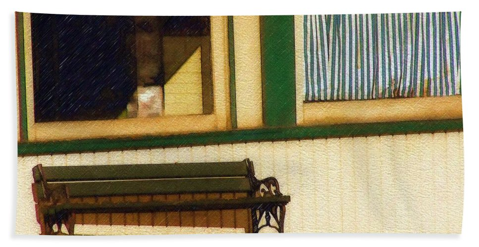 Bench Hand Towel featuring the photograph Come Sit a Spell by Sandy MacGowan