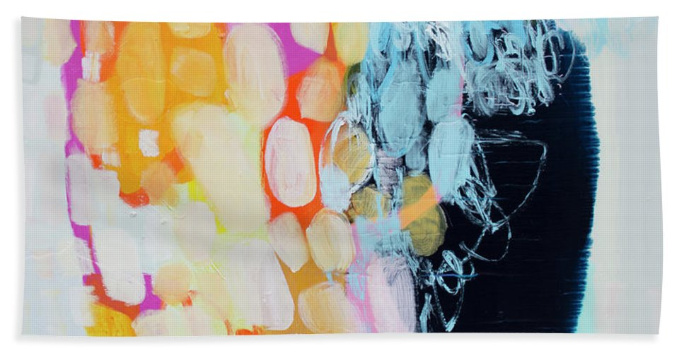 Abstract Bath Towel featuring the painting Come To Bed by Claire Desjardins