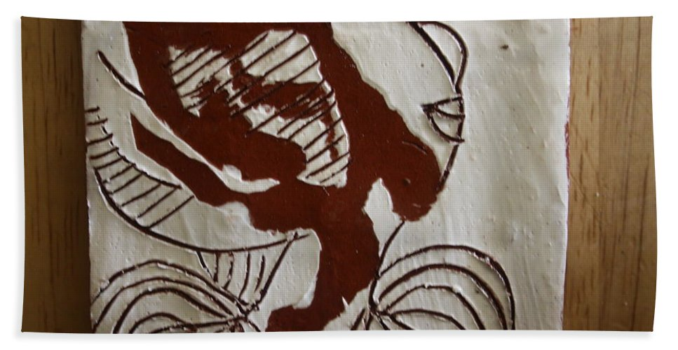 Jesus Bath Sheet featuring the ceramic art Comfort - Tile by Gloria Ssali