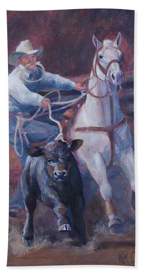 Calf Bath Sheet featuring the painting Comin At Ya   Calf Roping Painting by Kim Corpany