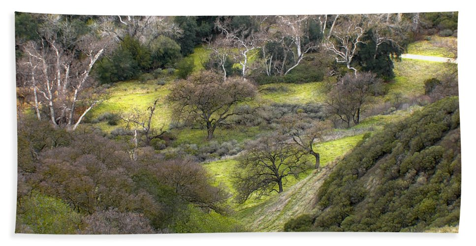 Landscapes Bath Towel featuring the photograph Coming Down The Hill by Karen W Meyer