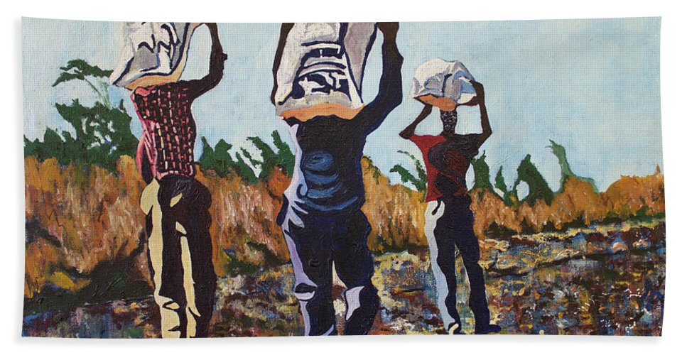 Valentine Magutsa Bath Sheet featuring the painting Coming From The Fields by Valentine Magutsa