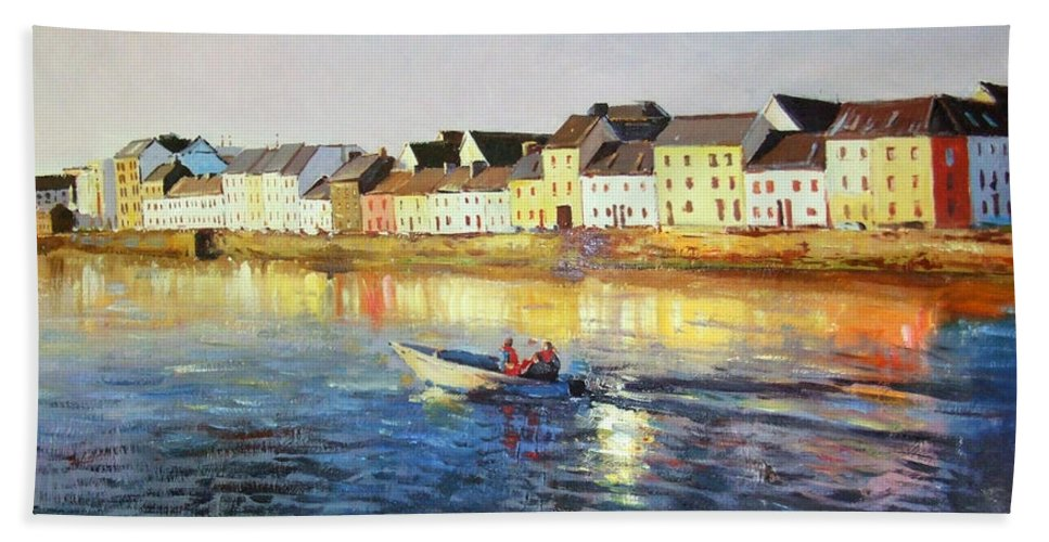 Seascape Bath Sheet featuring the painting Coming Home by Conor McGuire