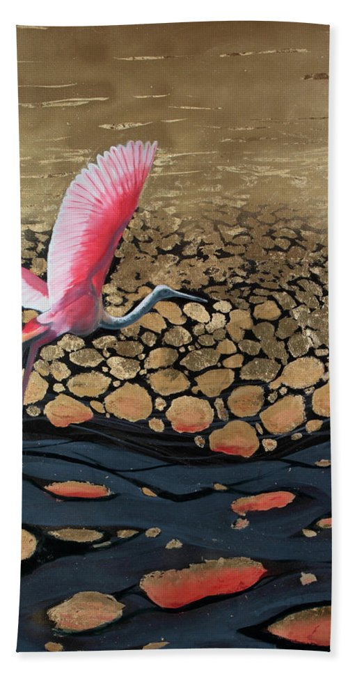 Gold Bath Sheet featuring the painting Coming in for a Landing by Art Nomad Sandra Hansen