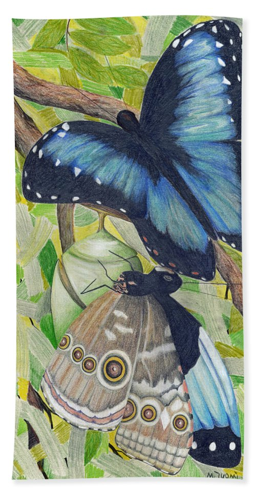 Butterfly Bath Sheet featuring the painting Coming Out by Mary Tuomi