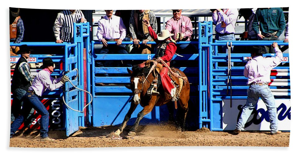 Rodeo. Rodeos Hand Towel featuring the photograph Coming Out Party by Joe Kozlowski