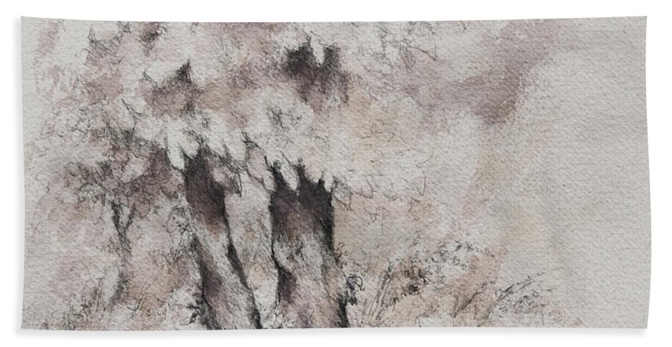 Trees Hand Towel featuring the drawing Coming Storm by Rachel Christine Nowicki
