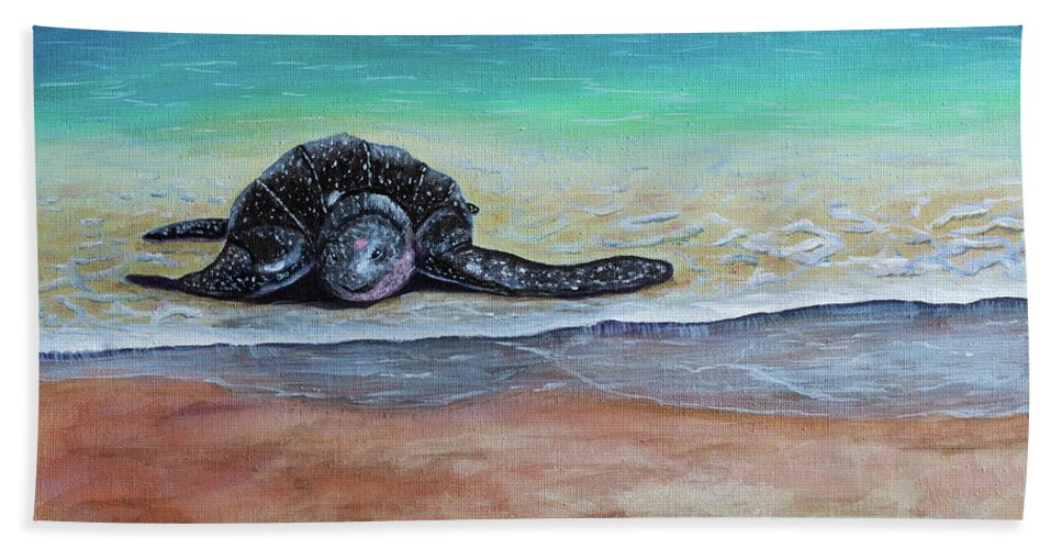 Leatherback Turtle Hand Towel featuring the painting Coming To Nest by Laura Forde