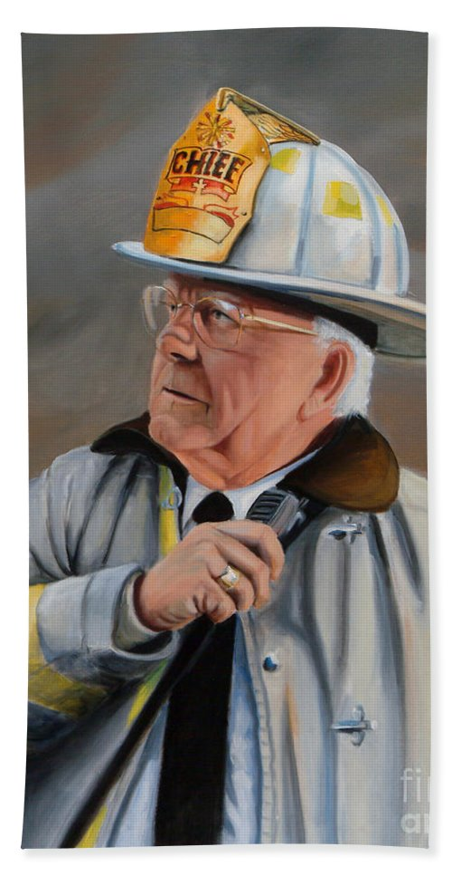 Fire Chief Bath Towel featuring the painting Command by Paul Walsh
