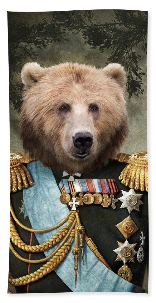 Portrait Hand Towel featuring the painting Commander Bear by Matt Van Gorkom
