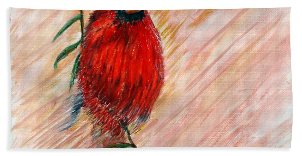 Cardinal Bath Sheet featuring the painting Commander by Loretta Luglio