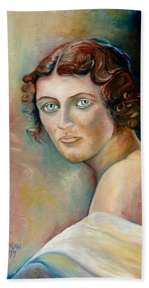 Portrait Bath Sheet featuring the painting Commission Me Your Face by Carole Spandau