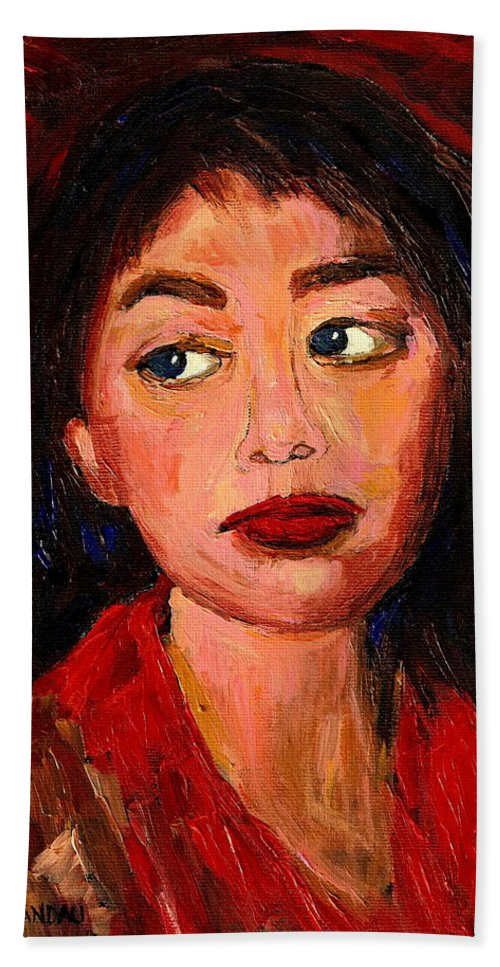 Commissioned Art Bath Towel featuring the painting Commission Montreal Portrait Artist Classically Trained by Carole Spandau