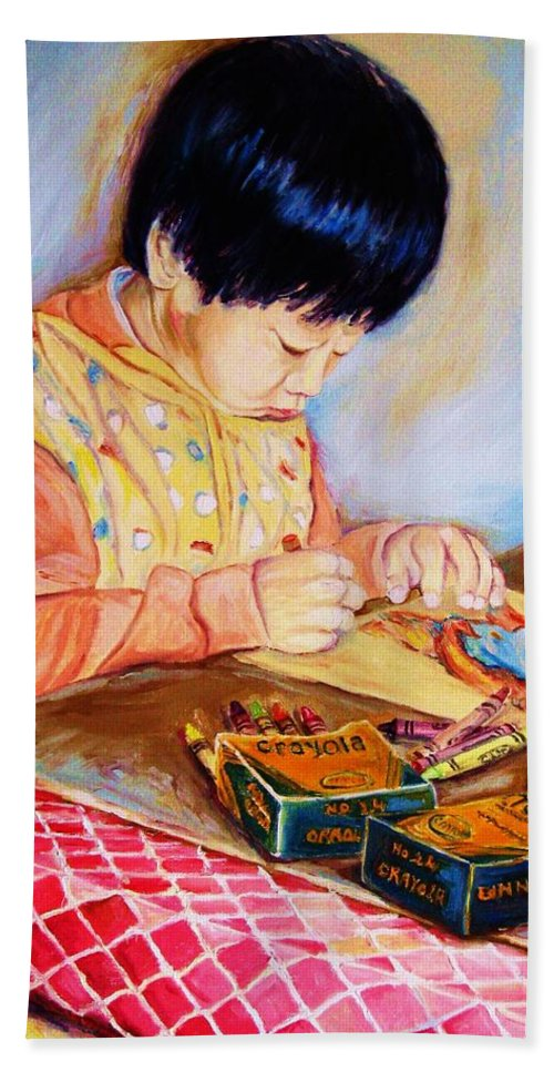 Beautiful Child Bath Sheet featuring the painting Commission Portraits Your Child by Carole Spandau