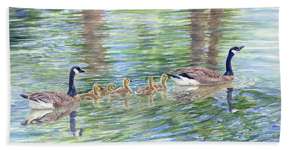 Canadian Geese Bath Towel featuring the painting Commitment by Malanda Warner