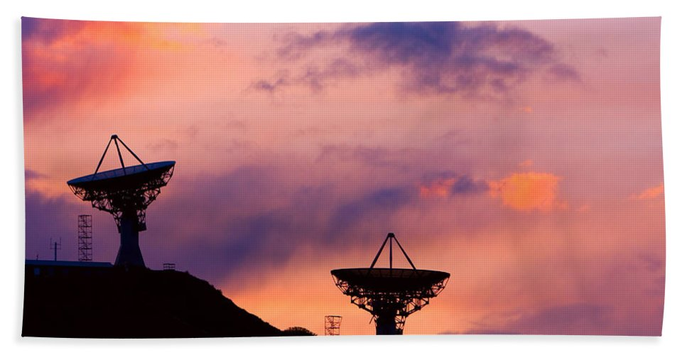 Antenna Bath Sheet featuring the photograph Communication Sunset by James BO Insogna