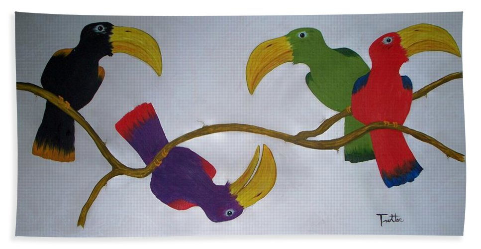 Birds Hand Towel featuring the painting Community Stick by Patrick Trotter