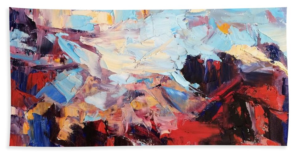 Abstract Hand Towel featuring the painting Comotion by NatikArt Creations