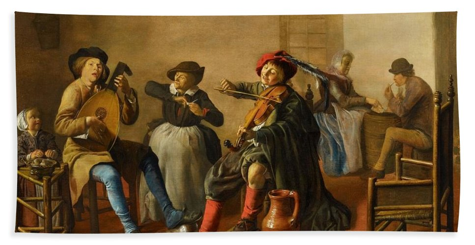 Jan Miense Molenaer Bath Sheet featuring the painting Company Making Music by Jan Miense