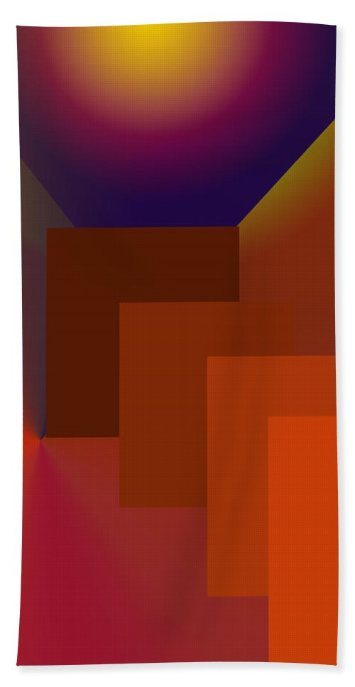 Abstract Hand Towel featuring the digital art Compartments by Ian MacDonald