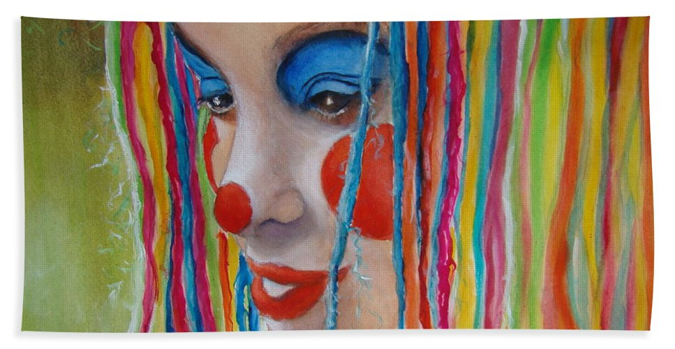 Clowns Hand Towel featuring the painting Complementary by Myra Evans