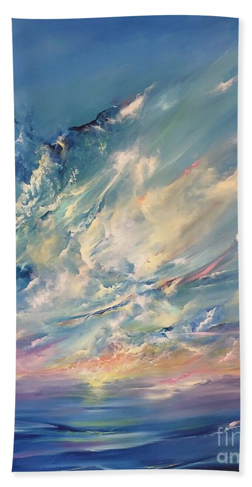 Seascape Hand Towel featuring the painting Complete Approval by Lex Halakan