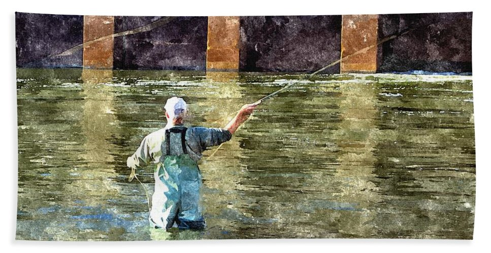Fly Fishing Hand Towel featuring the digital art Concentration by Harry Tart