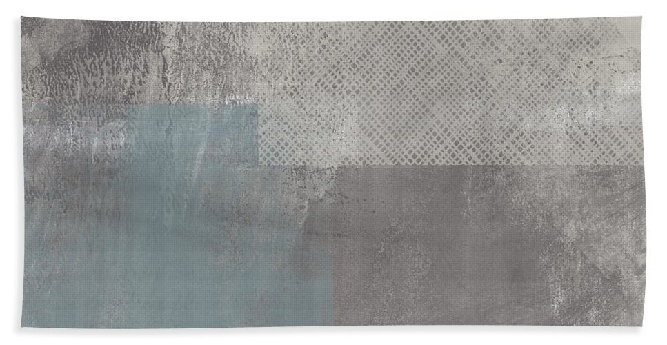 Concrete Bath Towel featuring the painting Concrete 3- Contemporary Abstract art by Linda Woods by Linda Woods
