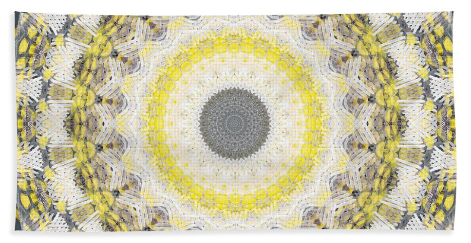 Concrete Bath Towel featuring the painting Concrete and Yellow Mandala- Abstract Art by Linda Woods by Linda Woods