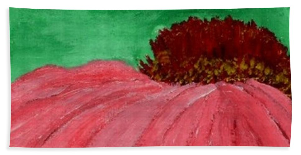 Cone Flower Hand Towel featuring the painting Cone Flower by Leslye Miller