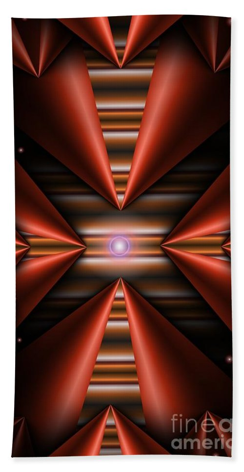 Abstract Hand Towel featuring the digital art Cone Red Convergence by Ron Bissett