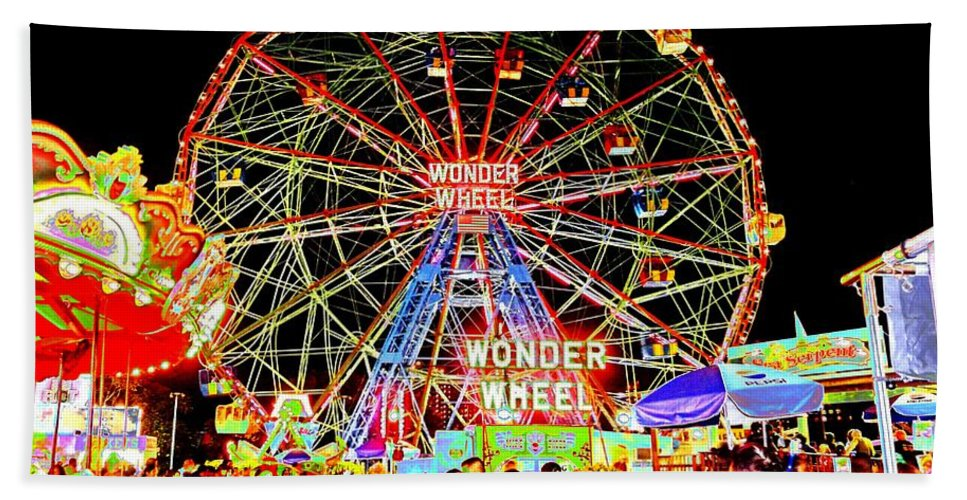 Beach Hand Towel featuring the photograph Coney Island Magic In Neon by Kendall Eutemey
