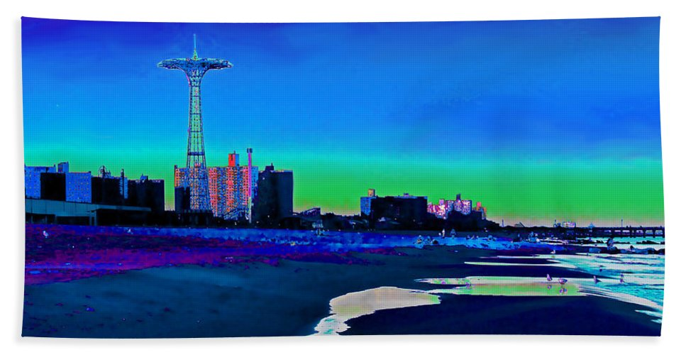 Coney Island Bath Sheet featuring the photograph Coney Island Parachute Jump And Beach by Kendall Eutemey