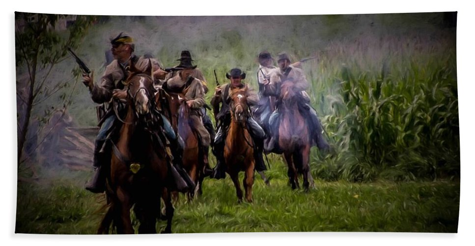 Texas Bath Sheet featuring the photograph Confederate Cavalry Charge by Tommy Anderson