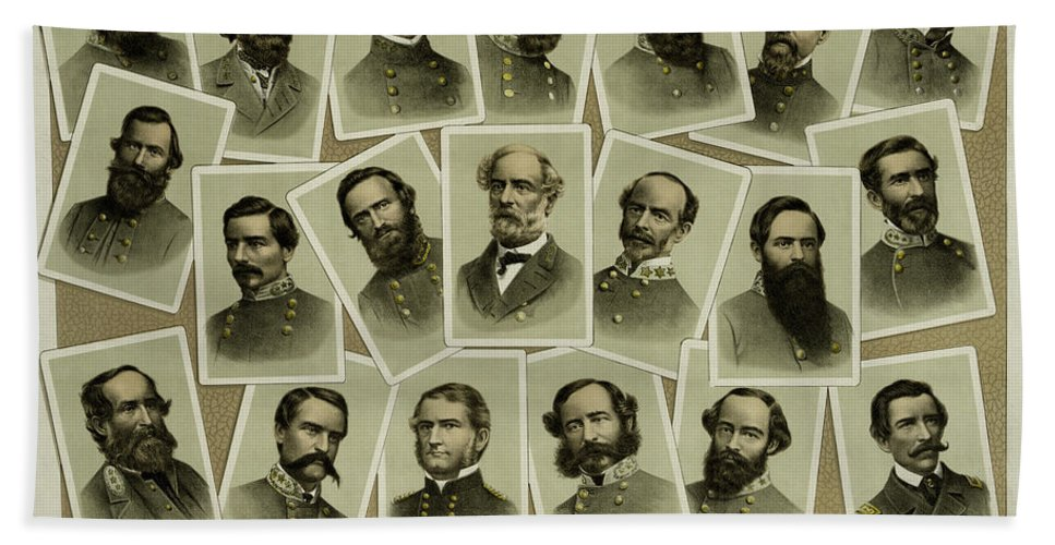 Civil War Hand Towel featuring the photograph Confederate Commanders Of The Civil War by Daniel Hagerman