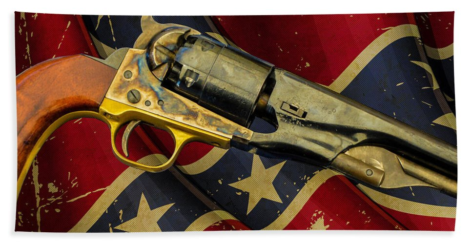 1860 Colt Navy Revolver Hand Towel featuring the photograph Confederate Sidearm by Tommy Anderson
