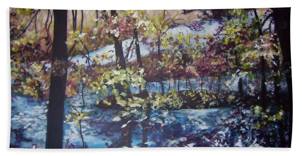 Landscape Bath Sheet featuring the painting Confetti by Sheila Holland