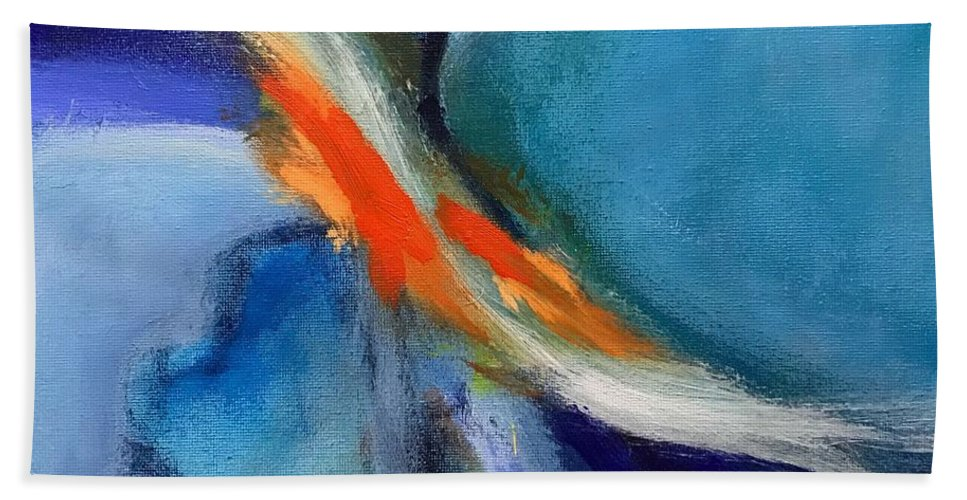 Abstract Hand Towel featuring the painting Confluence by Susan Kayler