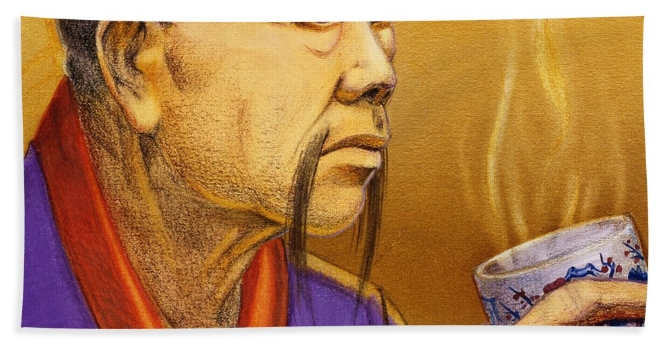 Oriental Bath Towel featuring the painting Confucian Sage by Melissa A Benson