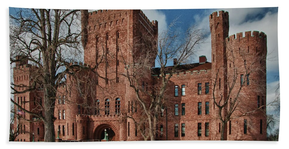 Armory Hand Towel featuring the photograph Connecticut Street Armory 3997a by Guy Whiteley