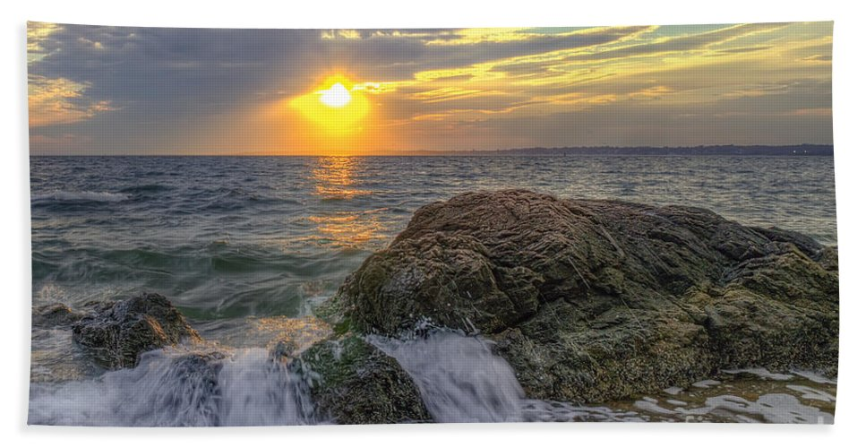 Hdr Hand Towel featuring the photograph Connecticut Sunset by Scott Wood