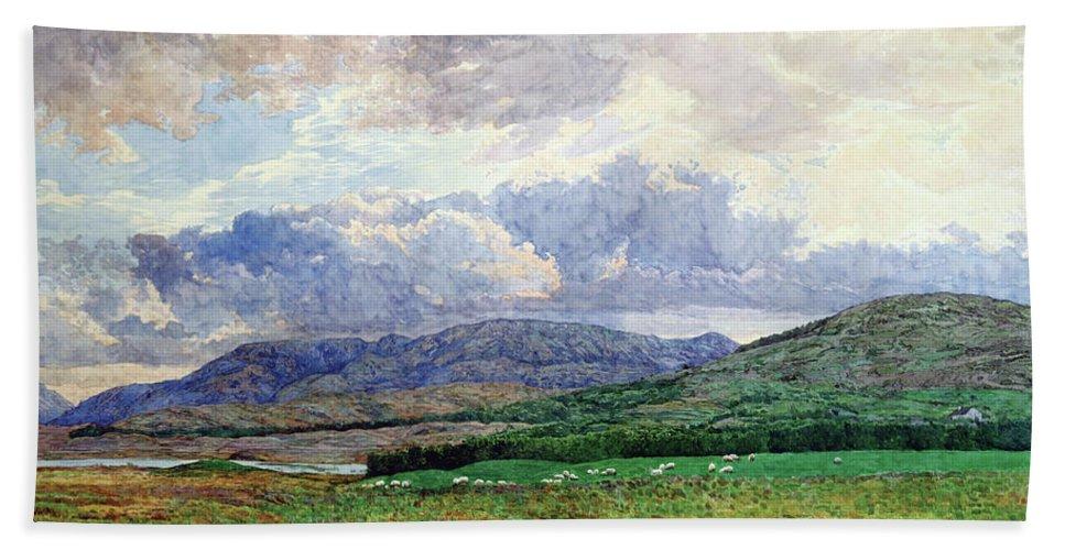 Landscape Bath Towel featuring the painting Connemara Mountains by Simon Kozhin