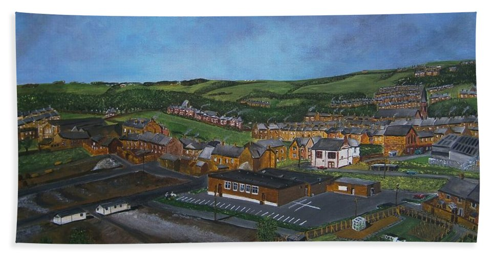 #consett Hand Towel featuring the painting Consett, Blackhill, County Durham by Neal Crossan