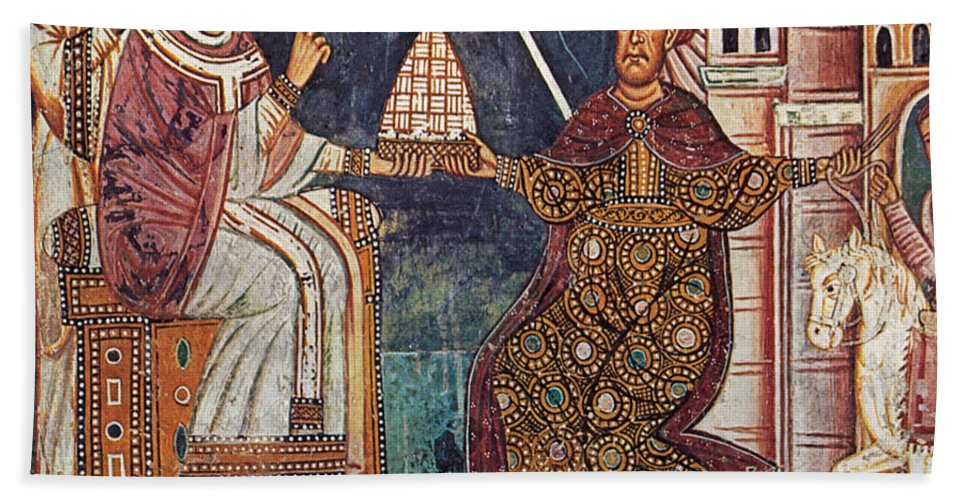 13th Century Hand Towel featuring the painting Constantine I (c280-337) by Granger