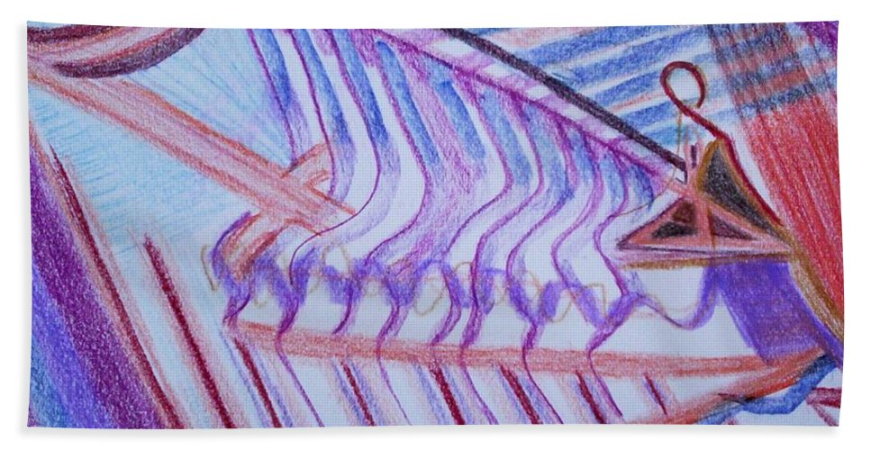 Abstract Bath Towel featuring the painting Construction by Suzanne Udell Levinger