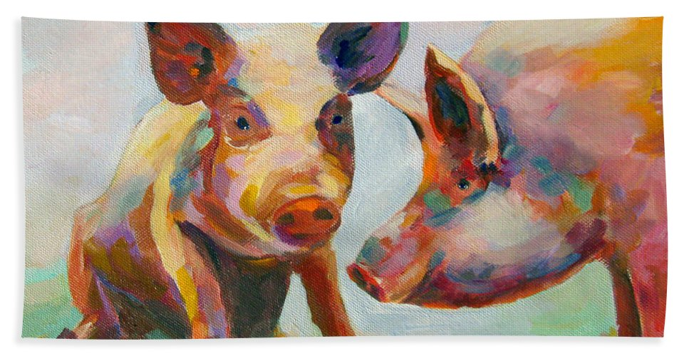 Pigs Bath Towel featuring the painting Consultation by Naomi Gerrard