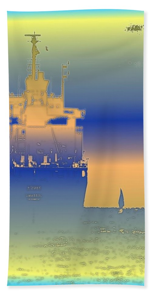 Puget Sound Hand Towel featuring the photograph Container Sail 2 by Tim Allen